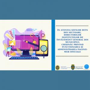 În atenția șefilor DETS din sectoare, directorilor instituțiilor privind funcționarea și administrarea paginii-web oficiale
